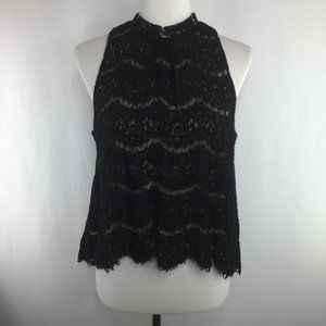 Love Fire black lace sleeveless blouse